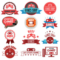 Vintage Video Game Badge Labels and Icons. Vector Illustration e