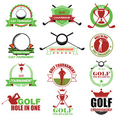 Set of vintage golf labels, badges and emblems. Vector Illustrat