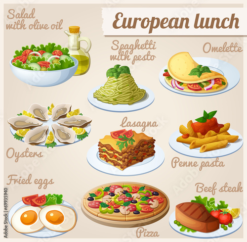 Set of food icons. European lunch - 69935940