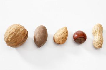 Gemischte Nüsse in einer Reihe auf weißem Untergrund