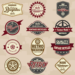Set of bicycle retro vintage badges and labels. Vector Illustrat