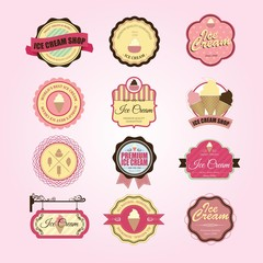 Retro ice cream badge and label. Vector illustration of vintage