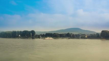 Car Ferry at the Rhine in Bonn, Germany