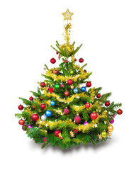 bunt geschmückter Weihnachtsbaum vor weißem Hintergrund