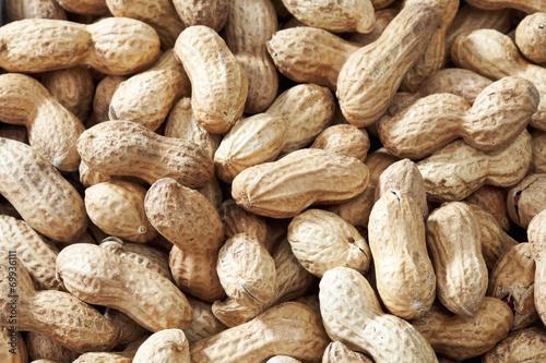 canvas print picture Ungeschälte Erdnüsse als Hintergrund, close up