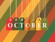 October tag on colored hanging labels. Fall colors