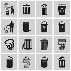 Vector black garbage icons set3. Vector Illustration eps10
