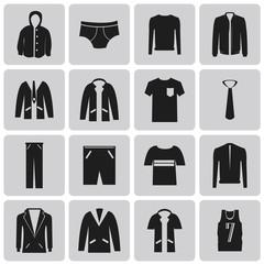 Man clothing black icon set1. Vector Illustration eps10