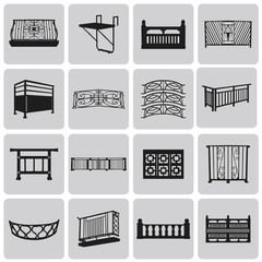 Vector Doorway and Balcony Black Icons and Element set1. Vector