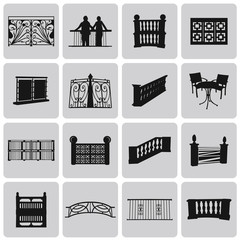 Vector Doorway and Balcony Black Icons and Element set2. Vector