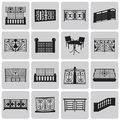 Vector Doorway and Balcony Black Icons and Element set3. Vector