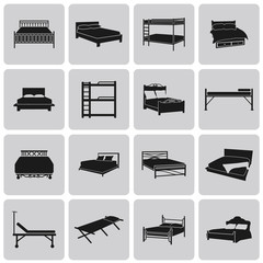 Vector black bed icons set on white background set2. Vector Illu
