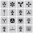 Vector black fans and propellers icons set2. Vector Illustration