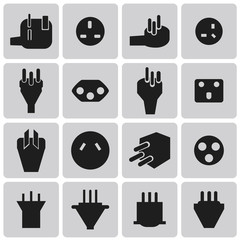 Energy and resource electronic plug black icon set2. Vector Illu