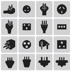 Energy and resource electronic plug black icon set3. Vector Illu