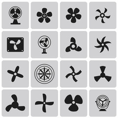 Vector black fans and propellers icons set1. Vector Illustration