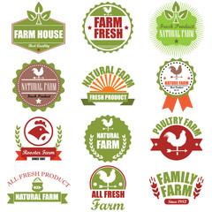 Farm fresh labels. Organic Farming isolated vector sign set. Far
