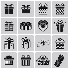 vector black christmas gift icon set1. Vector Illustration eps10