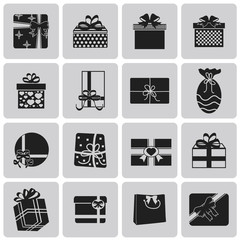 vector black christmas gift icon set2. Vector Illustration eps10