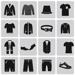 Man clothing black icon set2. Vector Illustration eps10