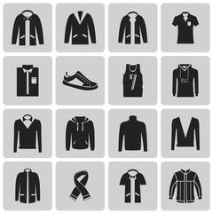 Man clothing black icon set3. Vector Illustration eps10