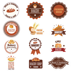 Collection of vintage retro bakery logo badges and labels. Vecto