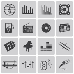 vector black music icons set on gray set1. Vector Illustration e