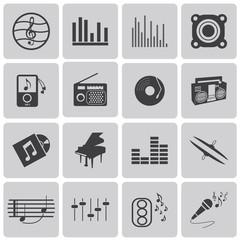 vector black music icons set on gray set1. Vector Illustration e