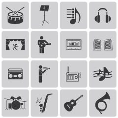 vector black music icons set on gray set2. Vector Illustration e
