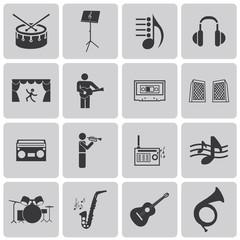 vector black music icons set on gray set2. Vector Illustration e