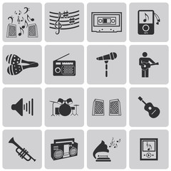 vector black music icons set on gray set3. Vector Illustration e