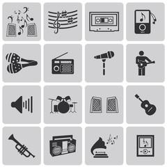 vector black music icons set on gray set3. Vector Illustration e