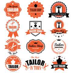 Collection of vintage retro tailor labels, badges and icons. Vec