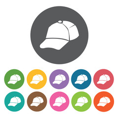 Baseball cap icons set. Round colourful 12 buttons. Vector illus