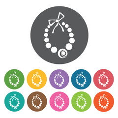 Necklace icons set. Round colourful 12 buttons. Vector illustrat