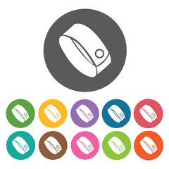 Bracelet icons set. Round colourful 12 buttons. Vector illustrat