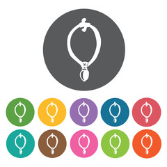 Indian necklace icons set. Round colourful 12 buttons. Vector il