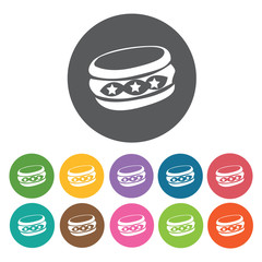 Bangles icons set. Round colourful 12 buttons. Vector illustrati