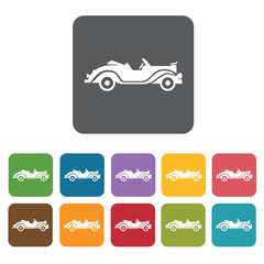 Ancient car icons set. Rectangle colourful 12 buttons. Vector il