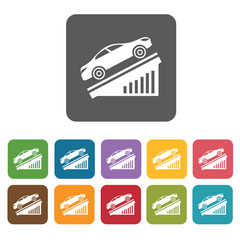 Car going up icons set. Rectangle colourful 12 buttons. Vector i
