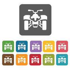 Atv icons set. Rectangle colourful 12 buttons. Vector illustrati