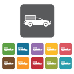 Off road car icons set. Rectangle colourful 12 buttons. Vector i
