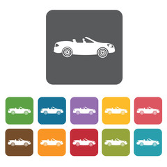 Luxury convertible car side view icons set. Rectangle colourful
