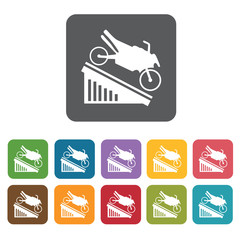 Motorbike going down icons set. Rectangle colourful 12 buttons.