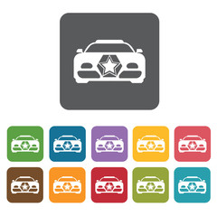Racing car front view icons set. Rectangle colourful 12 buttons.