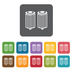 Car filter icons set. Rectangle colourful 12 buttons. Vector ill