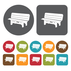 Outdoor bench icons set. Round and rectangle colourful 12 button