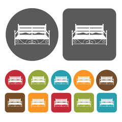Stylish bench icons set. Round and rectangle colourful 12 button
