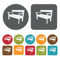 Wooden park bench icons set. Round and rectangle colourful 12 bu