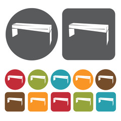Bench icons set. Round and rectangle colourful 12 buttons. Vecto
